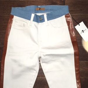 NWT RARE 7 for all mankind LEATHER side white jean